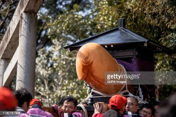A replicas of a phallus seen during the festival Honen festival is a traditional famous festival in Tagata Jinja Shrine komaki Aichi prefecture Japan...