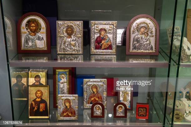 Replicas of Christian frescoes of the Chora Church Museum, the 11th century church of St. Savior's displayed at museums souvenir shop on August 21,...