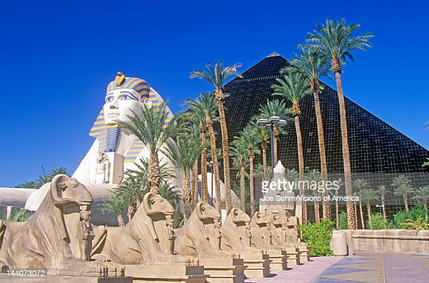 Replicas of Sphinx and Pyramid at the Luxor Hotel and Casino Las Vegas NV