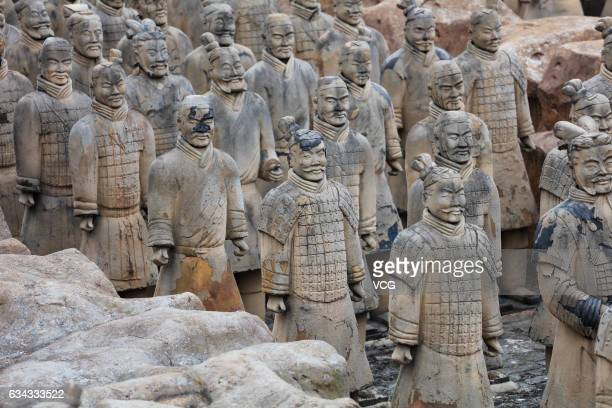 Replicas of the China's famous Terracotta Warriors and Horses are seen at the Five thousand years of Cultural Garden on February 8 2017 in Taihu...
