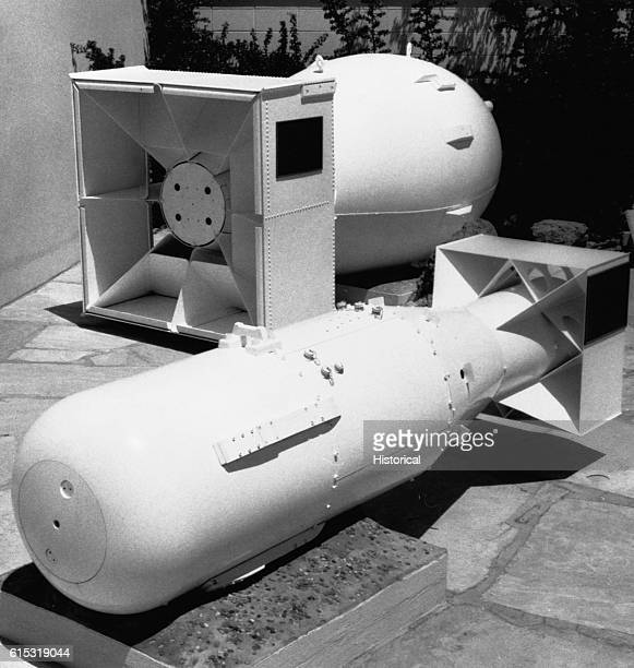 Replicas of two atomic bombs Little Boy and Fat Man on display at the Scientific Hall and Museum in Los Alamos New Mexico The original bombs were...