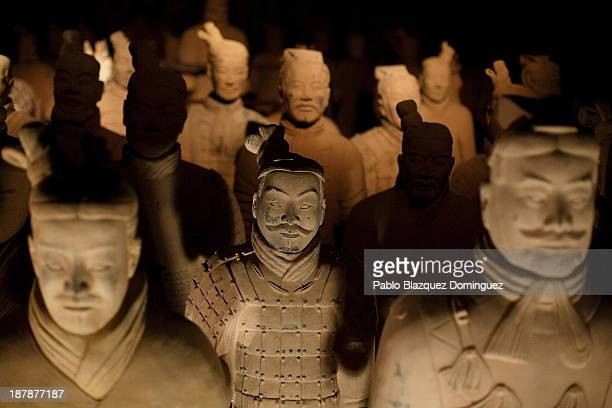 Replicas of Xian Warriors are on display at the 'Terracotta Army' exhibition in Villa's Cultural Center Fernan Gomez on November 13 2013 in Madrid...