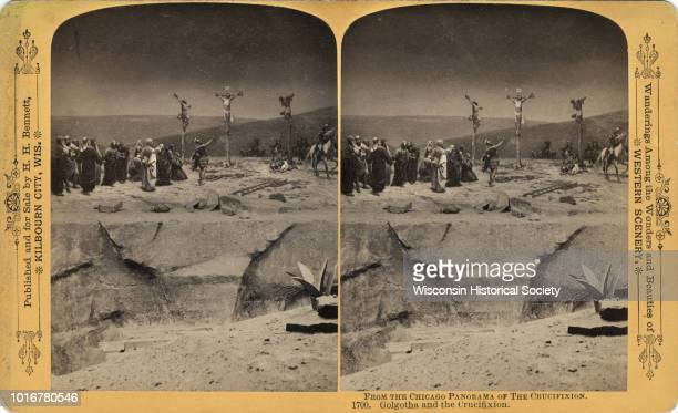 A replication of the crucifixion of Jesus Christ Chicago Illinois 1893 Jesus along with two other men are on crosses On the left is a group of men...