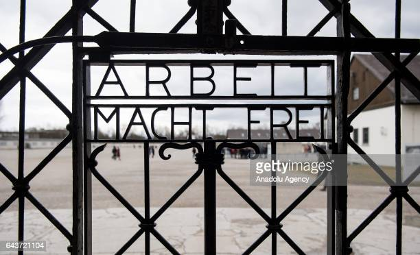 A replication of the iron gate with the slogan 'Arbeit macht frei' is seen at the Dachau concentration camp memorial on February 22 in Dachau Germany...