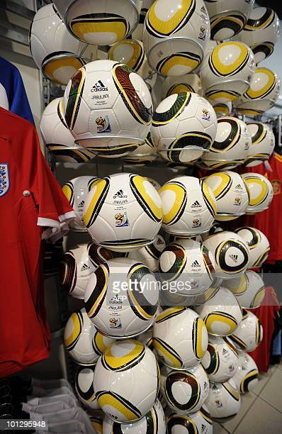 Repliquas of the Jabulani the official Football World Cup 2010's ball are seen on May 21 2010 in a supermarket at Maponya shopping mall in Soweto AFP...