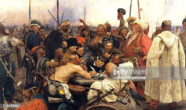 Reply of the Zaporozhian Cossacks to Sultan Mehmed IV of the Ottoman Empire' 188091 Oil on canvas Ilya Repin Russian artist Political and military...