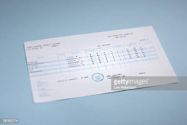 report card - boletim escolar imagens e fotografias de stock
