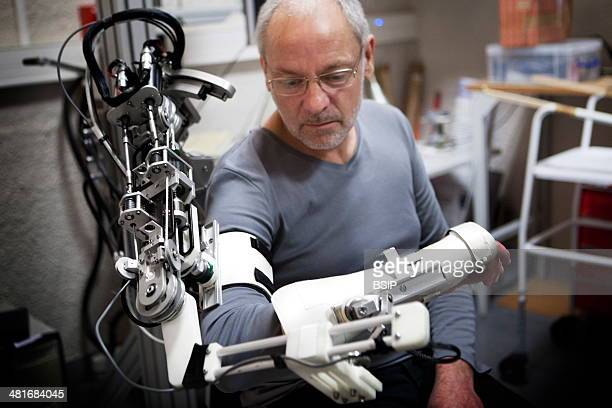 Reportage at ISIR in Paris France Exoskeleton prototype used for neuromotor rehabilitation and physical therapy ABLE is an arm exoskeleton which is...