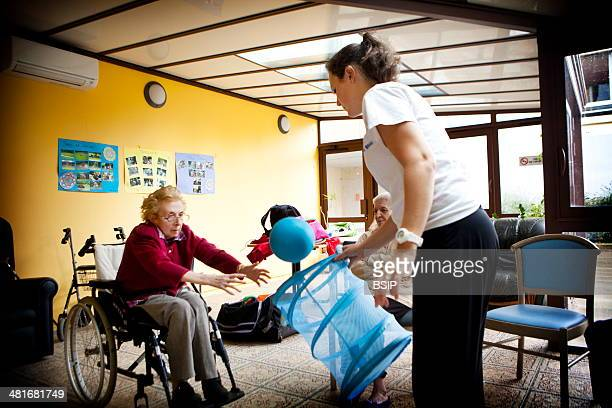 Reportage in Chelles Manor , France. Gym lessons for residents suffering from Alzheimer's disease.