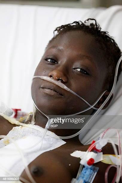 Reportage in Fann hospital Dakar Senegal Portrait of a Senegalese patient in intensive care