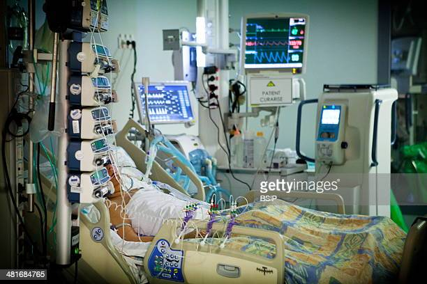 Reportage in Robert Ballanger hospital's Intensive Care Unit in France A curarised patient