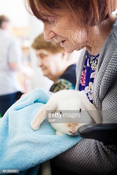 Reportage in the Arpage Victor Hugo retirement home in PavillonssousBois France Zootherapy session