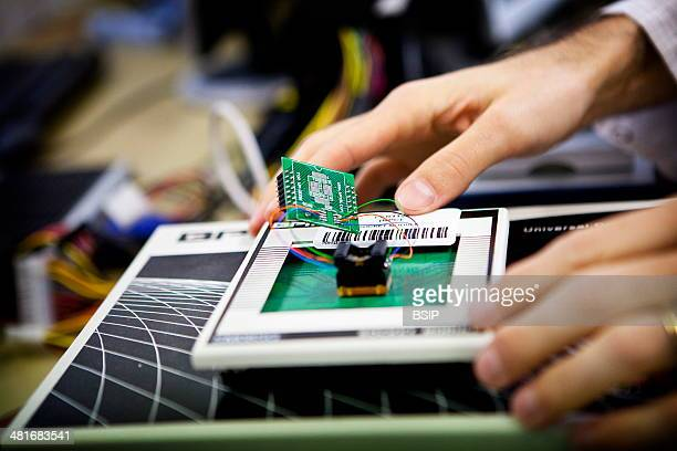 Reportage in the French National Police's Criminal Research Institute in RosnysousBois France Electronic Computing Department Analysing components...