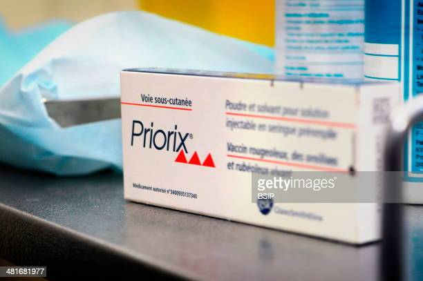 Reportage in the Health and Prevention Centre run by the local committee for social hygiene in Lyon, France. MMR vaccination. Priorix immunises...