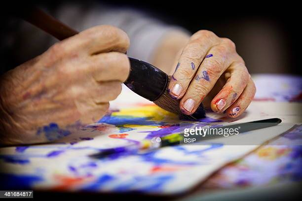 Reportage on art therapy in the Emilie de Rodat retirement home in Rueil Malmaison France This retirement home houses people suffering from...