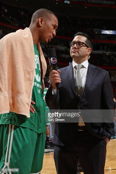 Reporter Adam Schefter interviews Al Horford of the Boston Celtics after Game Three of the Eastern Conference Quarterfinals against the Chicago Bulls...