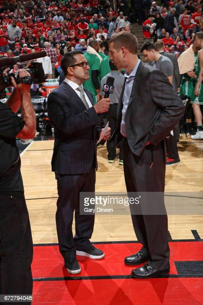 Reporter Adam Schefter interviews Brad Stevens of the Boston Celtics after Game Three of the Eastern Conference Quarterfinals against the Chicago...