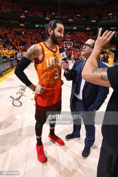Reporter Adam Schefter interviews Ricky Rubio of the Utah Jazz after Game Three of Round One of the 2018 NBA Playoffs against the Oklahoma City...