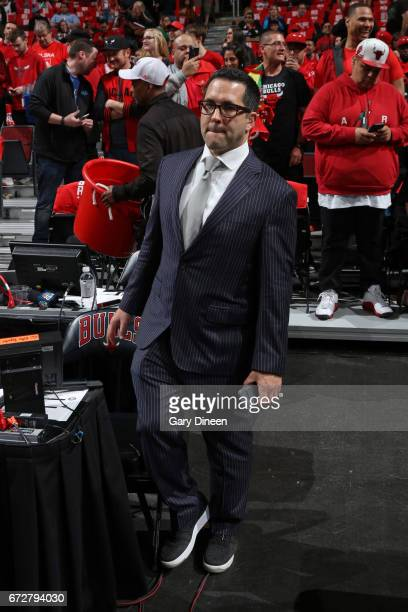 Reporter Adam Schefter sits at his seat Game Three of the Eastern Conference Quarterfinals between the Boston Celtics and the Chicago Bulls of the...