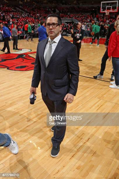 Reporter Adam Schefter walks on the court before Game Three of the Eastern Conference Quarterfinals between the Boston Celtics and the Chicago Bulls...