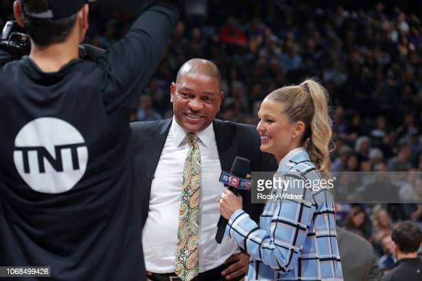 Reporter Allie LaForce interviews Head Coach Doc Rivers of the Los Angeles Clippers during the game against the Sacramento Kings on November 29 2018...
