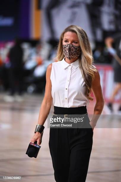 Reporter Allie LaForce interviews players during the game between the Los Angeles Lakers and the Denver Nuggets during Game Two of the Western...
