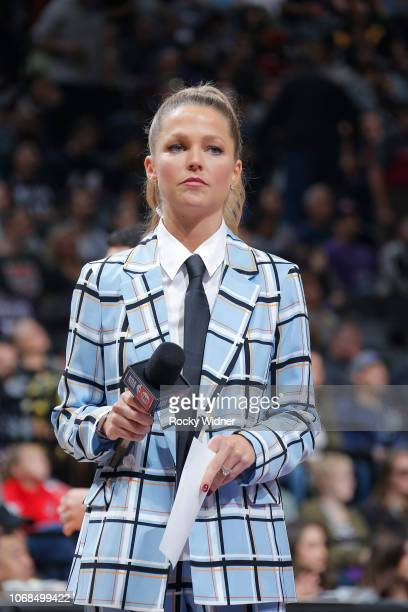 Reporter Allie LaForce pays tribute to the late Craig Sager during the game between the Los Angeles Clippers and Sacramento Kings on November 29 2018...