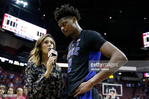 ESPN reporter Allison Williams interviews Cam Reddish of the Duke Blue Devils after they defeated the Florida State Seminoles 8078 at Donald L Tucker...