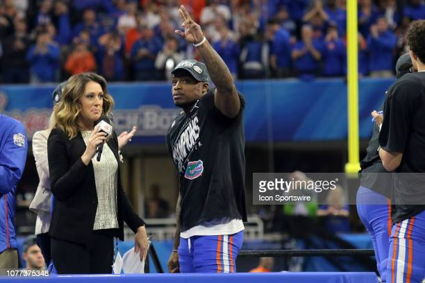 ESPN reporter Allison Williams interviews Florida Gators defensive back Chauncey GardnerJohnson afterthe Peach Bowl between the Florida Gators and...