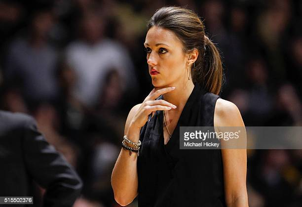 ESPN reporter Allison Williams is seen during the Purdue Boilermakers versus Maryland Terrapins game at Mackey Arena on February 27 2016 in West...