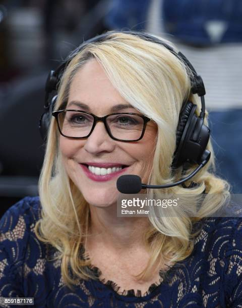 ESPN reporter and analyst Doris Burke broadcasts after a preseason game between the Sacramento Kings and the Los Angeles Lakers at TMobile Arena on...