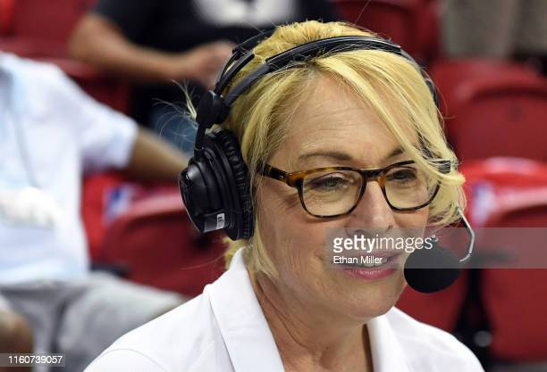 ESPN reporter and analyst Doris Burke broadcasts during a game between the LA Clippers and the Memphis Grizzlies during the 2019 NBA Summer League at...