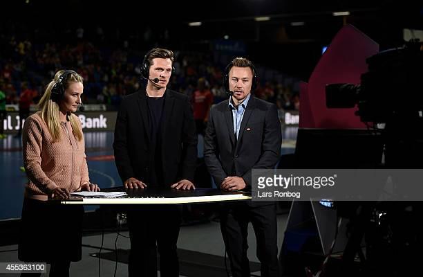 Reporter and host Stine Bjerre Jorgensen of TV2 Sporten Denmark handball expert Claus Moller Jakobsen and Havard Tvedten of Aalborg Handball reports...