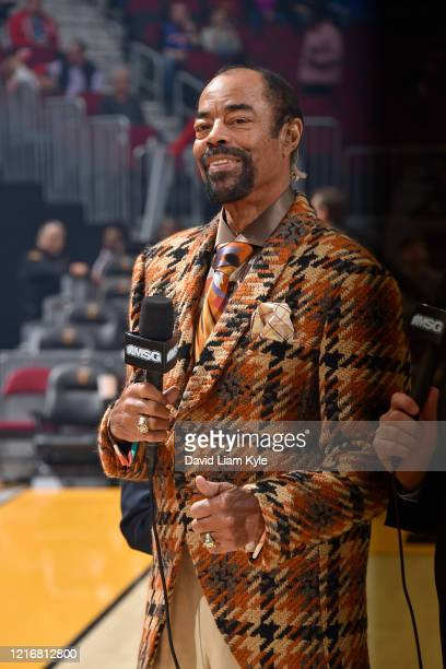 Reporter and NBA Legend Walt Frazier looks on before the game between the New York Knicks and the Cleveland Cavaliers on February 3, 2020 at Rocket...