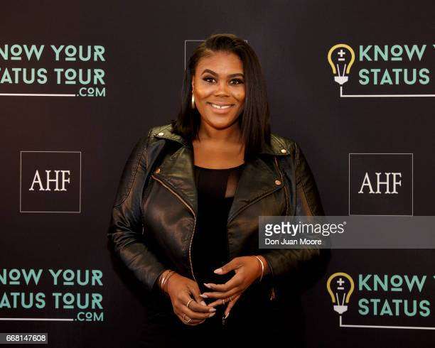 Reporter and show host Nina Parker poses before the start of the Know Your Status Tour on the campus of Florida AM University on April 12 2017 in...