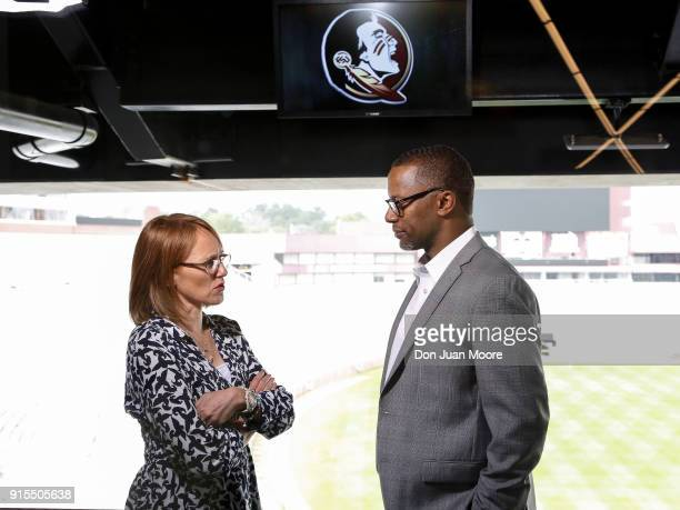 Reporter Andrea Adelson talks with Head Coach Willie Taggart of the Florida State Seminoles on air after his National Signing Day Press Conference at...