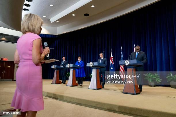 Reporter Andrea Mitchell asks a question as Australian Minister of Defense Peter Dutton, Australian Foreign Minister Marise Payne, US Secretary of...