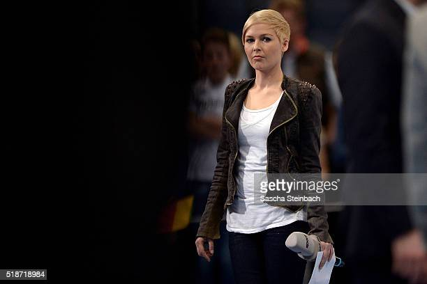 Reporter Anett Sattler is seen after the Handball international friendly match between Germany and Denmark at Lanxess Arena on April 2 2016 in...