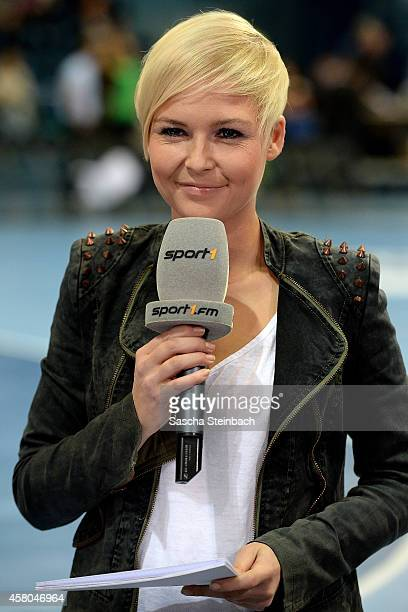 Reporter Anett Sattler is seen during the 2016 European Men's Handball Championship qualifier match between Germany and Finland at Schwalbe arena on...