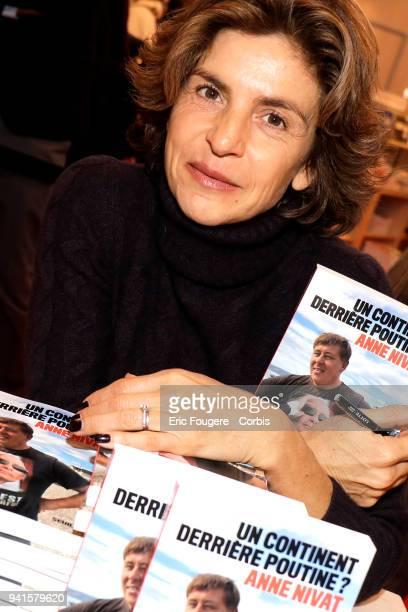 Reporter Anne Nivat poses during Paris Book Fair 2018 at Parc Des Expositions Porte de Versailles France on