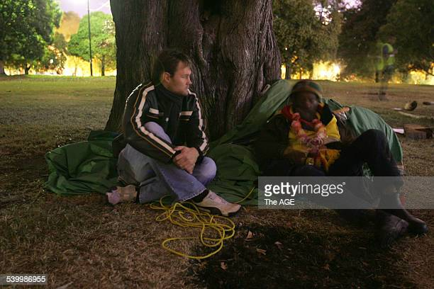 Reporter, Ben Doherty, on the job interviewing at the sacred fire campsite at Kings Domain on 17th April, 2006. THE AGE NEWS Picture by ANDREW DE LA...