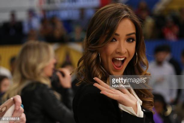Reporter Cassidy Hubbarth smiles and waves to the camera during the NBA AllStar Celebrity Game presented by Ruffles as a part of 2018 NBA AllStar...