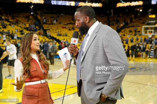Reporter Cassidy Hubbarth talks with NBA Legend Kendrick Perkins before Game Three of the NBA Finals between the Toronto Raptors and the Golden State...