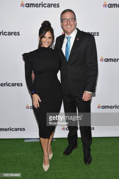 Reporter Darlene Rodriguez and President and CEO at Americares Michael Nyenhuis attend the 2018 Americares Airlift Benefit on October 13 2018 in...