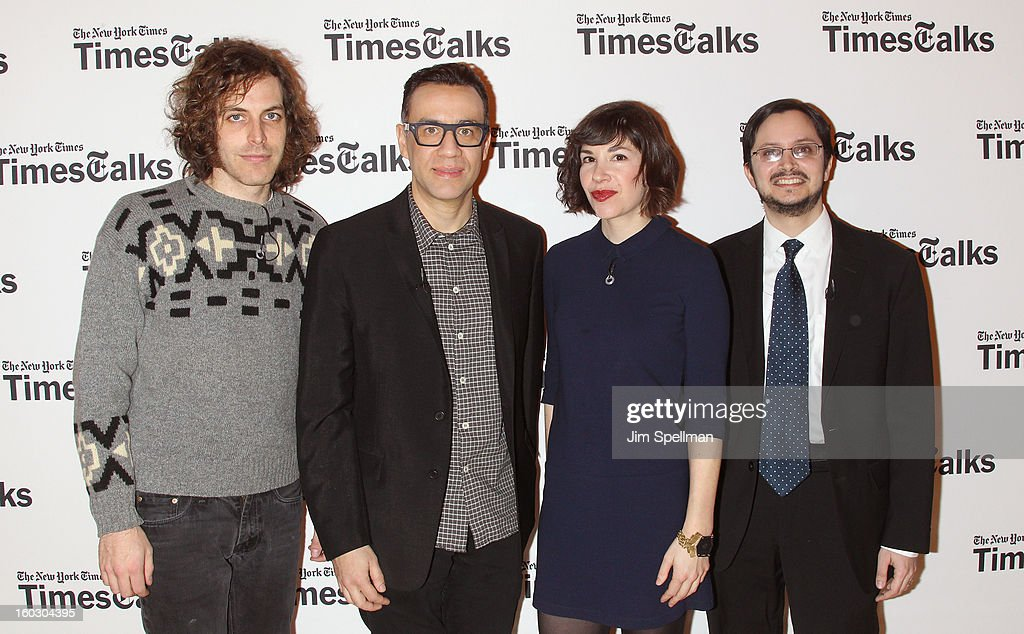 Reporter Dave Itzkoff, director Jonathan Krisel, actors Carrie Brownstein and Fred Armisen attend New York Times TimesTalks Presents: 'Portlandia' at TheTimesCenter on January 28, 2013 in New York City.