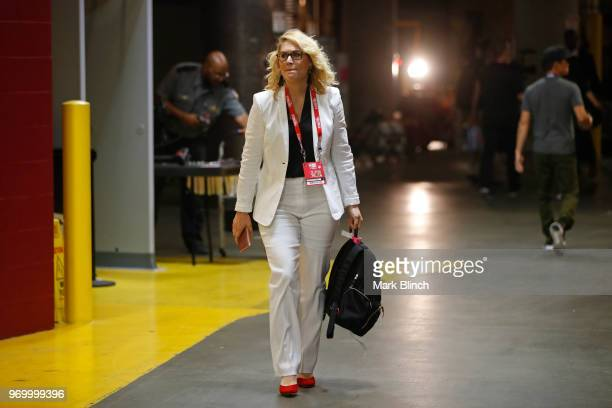 Reporter Doris Burke arrives at the arena before Game Four of the 2018 NBA Finals between the Golden State Warriors and the Cleveland Cavaliers on...