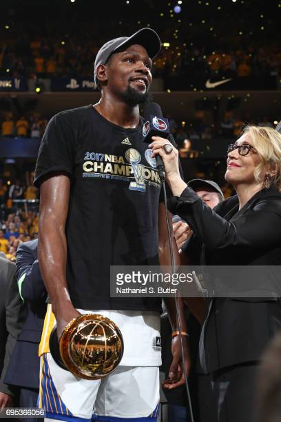Reporter Doris Burke interviews Kevin Durant of the Golden State Warriors after winning the Finals MVP after Game Five of the 2017 NBA Finals against...