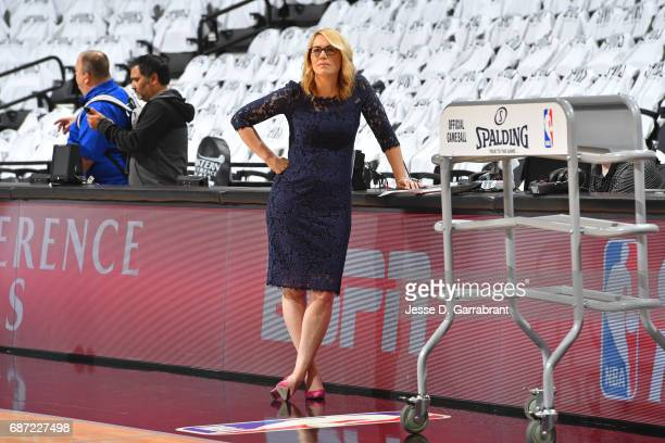 Reporter Doris Burke looks on before Game Three of the Western Conference Finals between the Golden State Warriors and the San Antonio Spurs during...