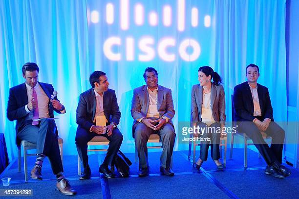 KABC reporter Elex Michaelson Head of CISCO's IOT Verticals Strategy Pavan Singh CEO of Nuviso Kishore Kumar Director of Business Development for...