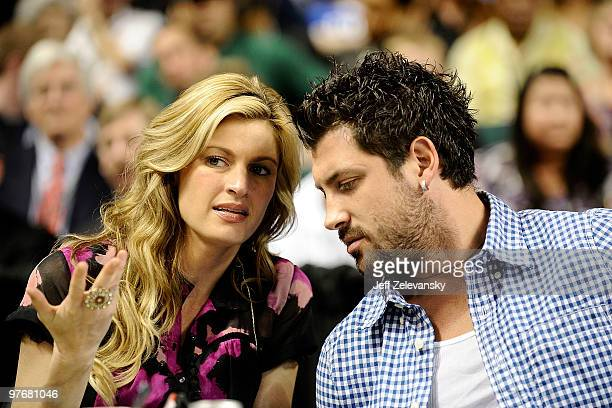 """Reporter Erin Andrews and her """"Dancing With The Stars"""" partner Maksim Chmerkovskiy watch the Duke Blue Devils play the University of Miami Hurricanes..."""
